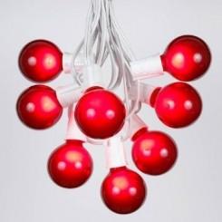 LED Fiber Optic Red Globe Light String Set