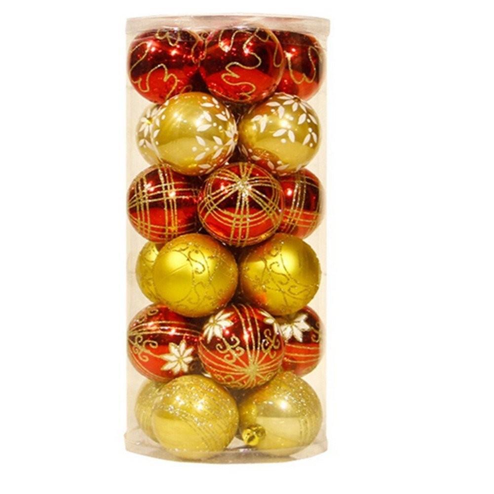 Printed xmas decorative balls pack of 20 christmas for Christmas decoration packs