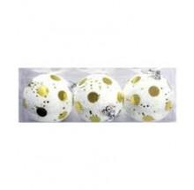 Golden & White Decoration Balls- (Pack Of 3)